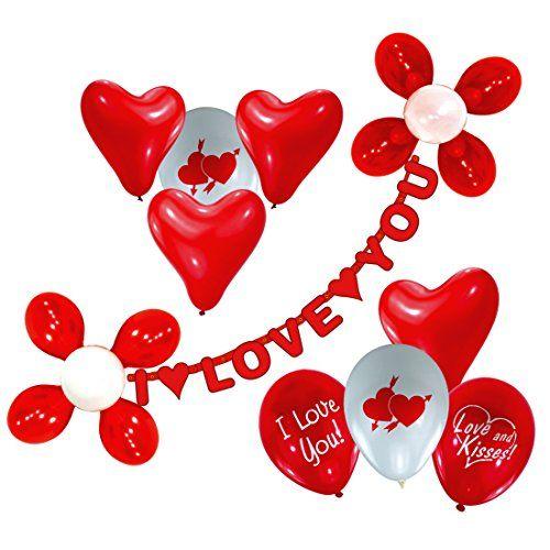 Set de ballons décoratifs I love you ballons et guirlandes Set de déco cœur Saint-Valentin amour goflable décoration romantique accessoires…