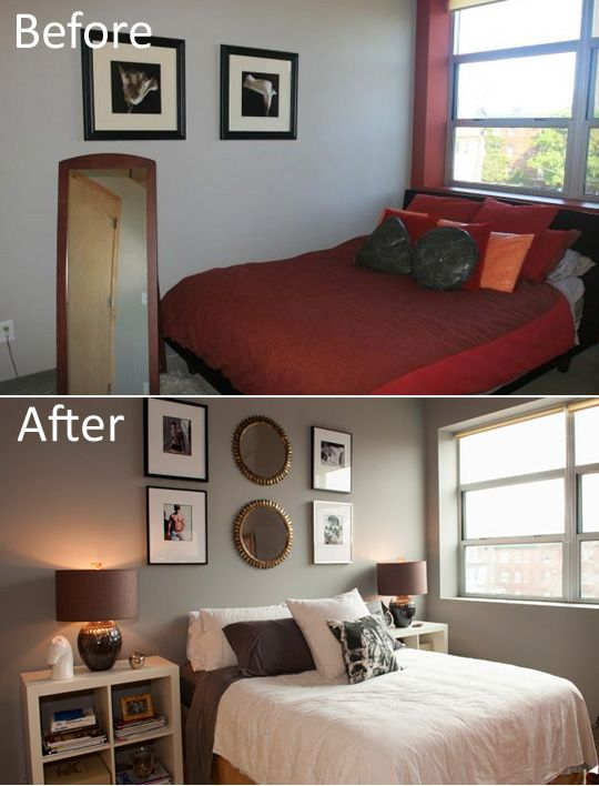 Guest bedroom: Ikea nightstands. Not so much the shirtless pics.