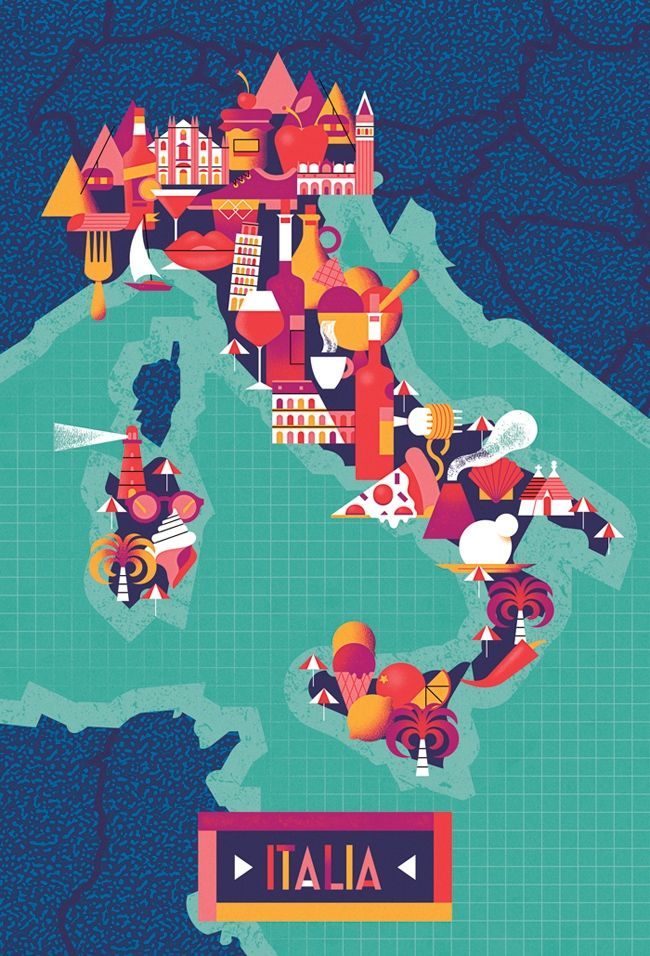 Map of Italy for an upcoming project  #illustration #design #italy #map #italia #pizza #artwork @elloillustrations