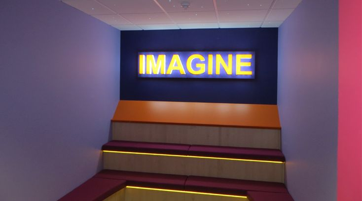 3D Illuminated 'IMAGINE' letters installed into a school in Yorkshire. Designed, manufactured and installed by Space3.co.uk