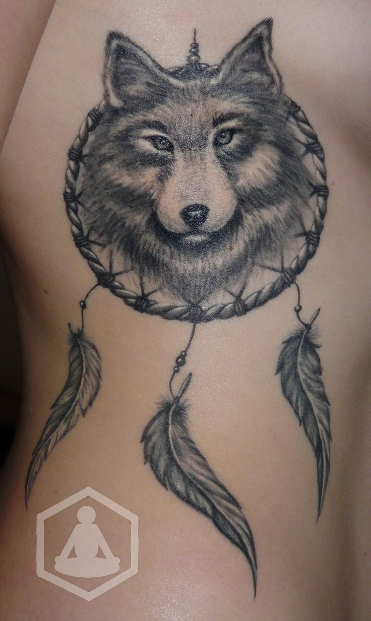 Grey Ink Wolf Tattoo On Rib Cage