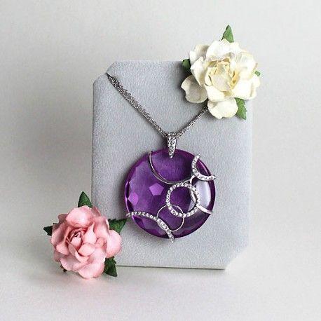 Naszyjnik ze srebra z dużą zawieszką - kryształem