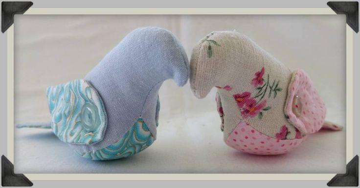 Pair of Love Birds, Romantic Wedding Ornament, Nursery Decor, Bird Softies by ByCatDesign on Etsy