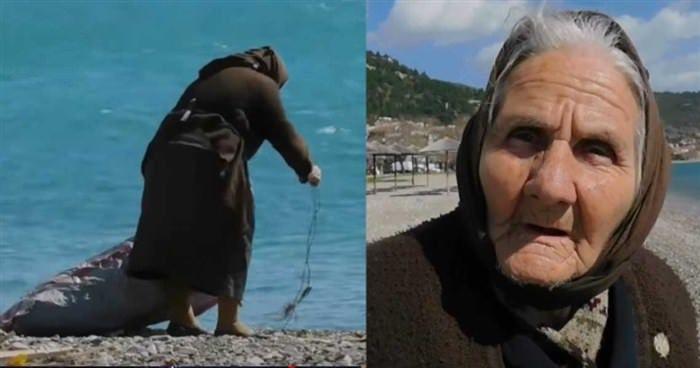 Γιαγιούλα ψάχνει ξύλα για να ζεσταθεί σε παραλία της Ναυπάκτου  #Βίντεο #Ελλάδα #επικαιρότητα
