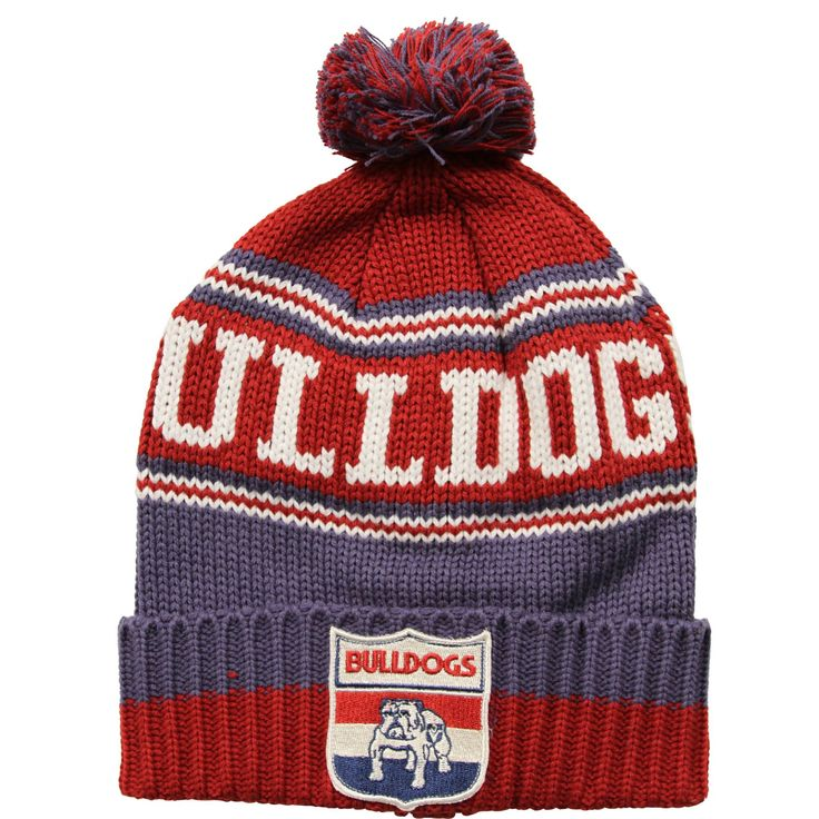 Western Bulldogs Chunky Beanie    • Chunky knit style beanie  • Retro style woven club badge  • OSFM  • Manufactured by Playcorp.  $25.  To see the full range of AFL merch, visit shop.afl.com.au