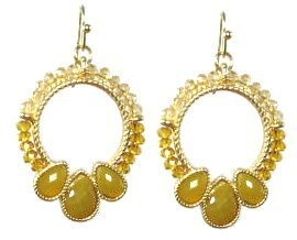 Rounders Goldtone Fashion Earrings (Amber beige) Maggie T New York