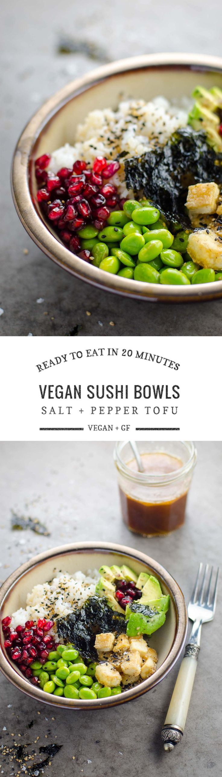 20 minute vegan sushi bowls with salt and pepper tofu, a light, citrusy dressing and plenty of vegetables are great for busy weeknights. Gluten free.