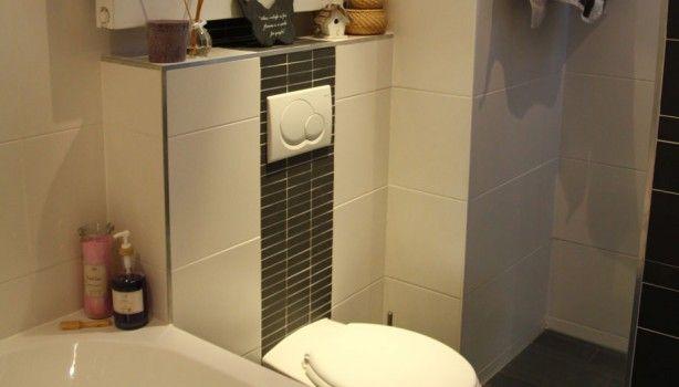 Mooi strak toilet met tegelstrip aan achterzijde doorlopend in stijl van de badkamer toilet - Stijl van toilet ...