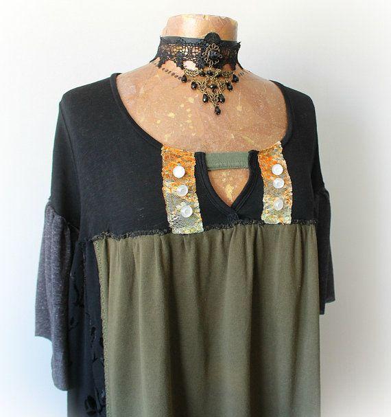 Boho Плюс размер Стиви Никс Рубашка длиной BrokenGhostClothing