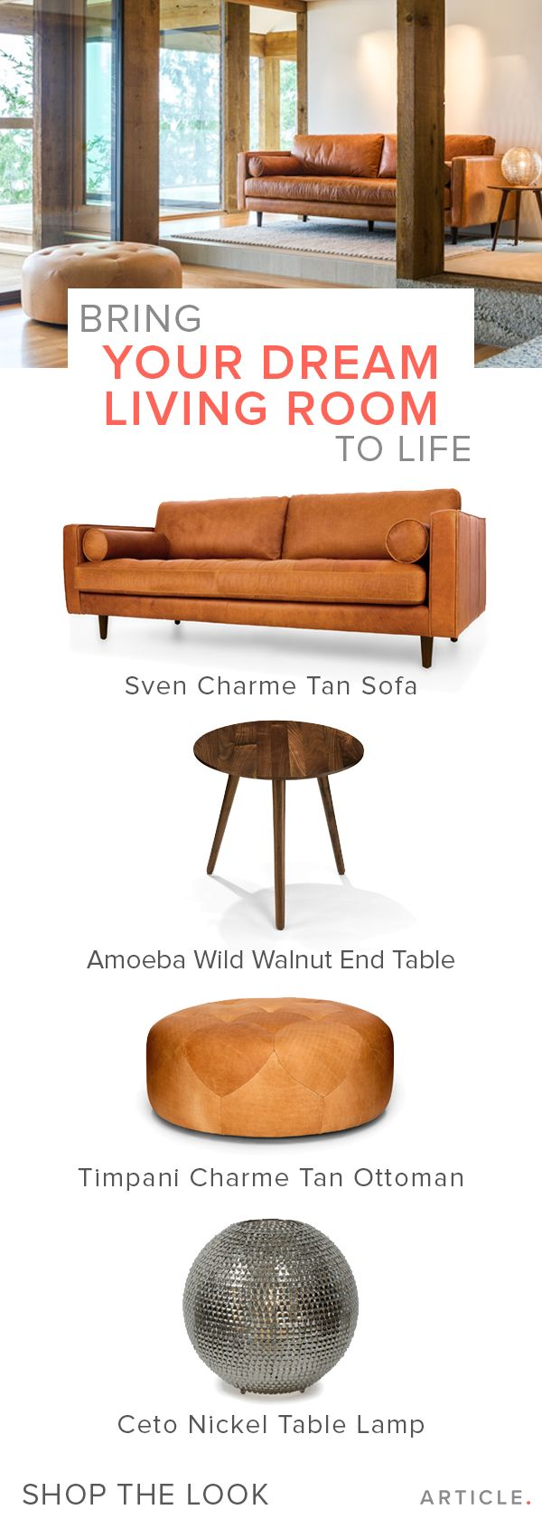 Shop the look for this mid-century modern space.   https://www.article.com/product/1121/sven-charme-tan-right-sectional-sofa?utm_source=google&utm_medium=search&utm_campaign=google-shopping&forceCurrencyId=1&gclid=Cj0KEQjwhtO7BRCtwuO9gfTH-fQBEiQAdJ8FY8ErFAMgUzHUWDELOlurxf7abtjTVRwo-mfl6mHtio0aAh7q8P8HAQ#