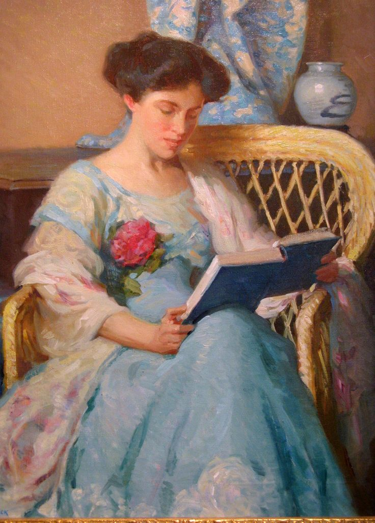 A Woman Reading (c. 1911). William Chadwick (American Impressionist, 1879-1962). Oil on canvas.