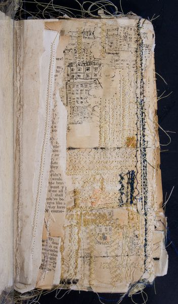 """Sketch Book"" page by Nina Morgan (the whole book looks gorgeous - detailed, layered, tattered, stitched...)"