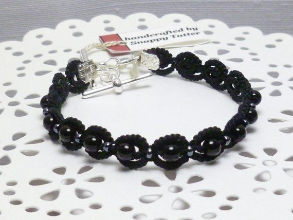 Tatted Bracelet in Black with glass beads by SnappyTatter on Etsy