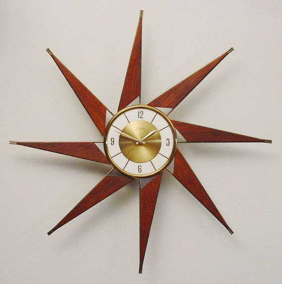 RESERVED for BILLIE 1960s Starburst Clock, Turbine Design by Elgin. Mid-Century Modern after George Nelson Turbine  Design via Etsy