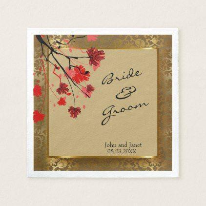#Beautiful Vintage Gold Damask & Art Deco Wedding Napkin - #wedding gifts #marriage love couples