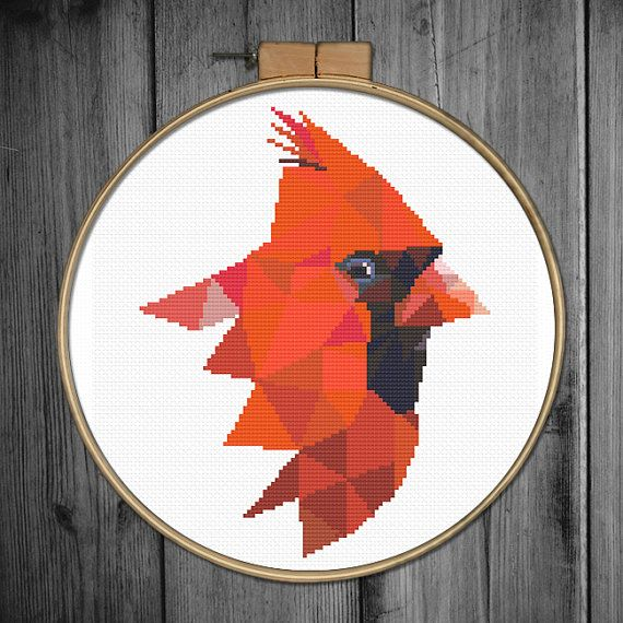 Cross stitch pattern PDF Tittle: Geometric cardinal Joint project with villavera.etsy.com (based on geometric artwork of villavera)  This PDF counted cross stitch pattern available for instant download.  Skill level: Beginner.  Pattern size (without white borders around): stitches: 115hx90w ready design: 8.3h x 6.5w for 14-count fabric. You can frame it in 8 x 10frame or 9 hoop.  Floss: 19 DMC colors  14-count Aida fabric  This PDF pattern include: • image of finished design • description •…