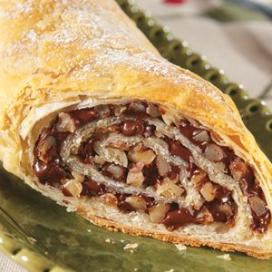 Chocolate Walnut Strudel - this exquisite dessert features a luscious chocolate and walnut filling, rolled up in golden puff pastry