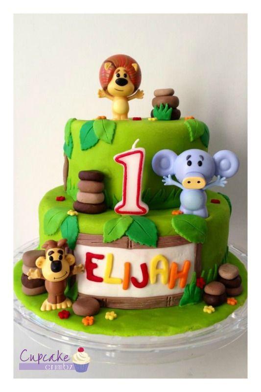 "Raa Raa the Noisy Lion themed 1st birthday cake. 8"" bottom tier, 6"" top tier. Raa Raa, Hufty and Ooo Ooo figures purchased from the ABC Shop."