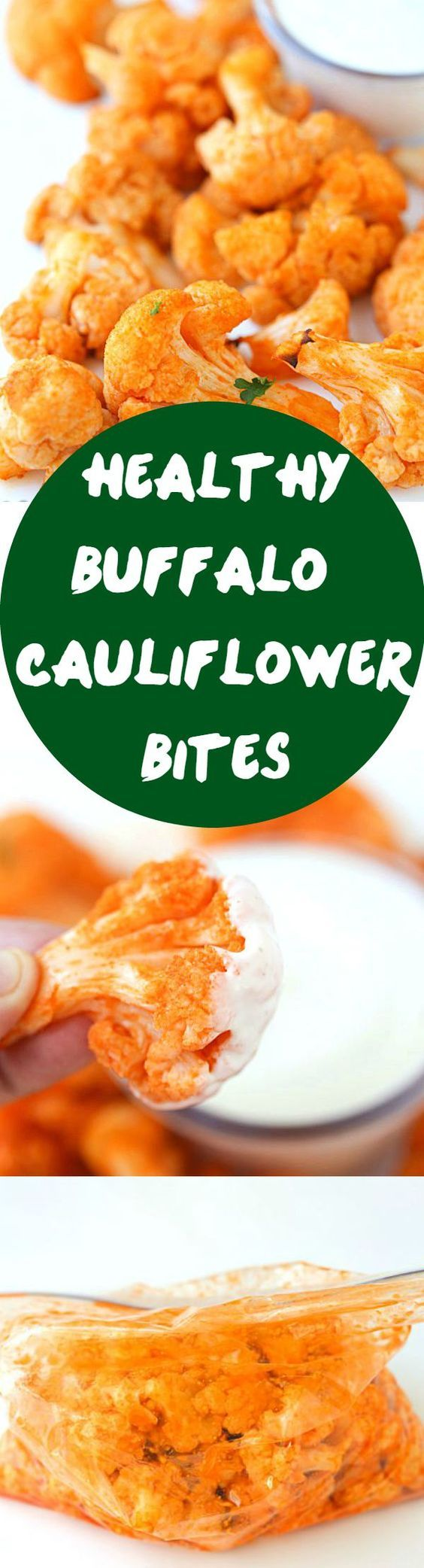 Healthy Buffalo Cauliflower Bites - These bites are addicting spicy (to some) and surprisingly fantastic! If you love a delicious buffalo chicken dip these bites are for you!