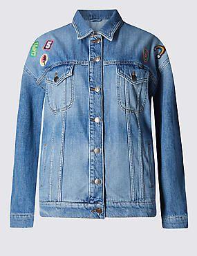 Loose Fit Assorted Badge Denim Jacket