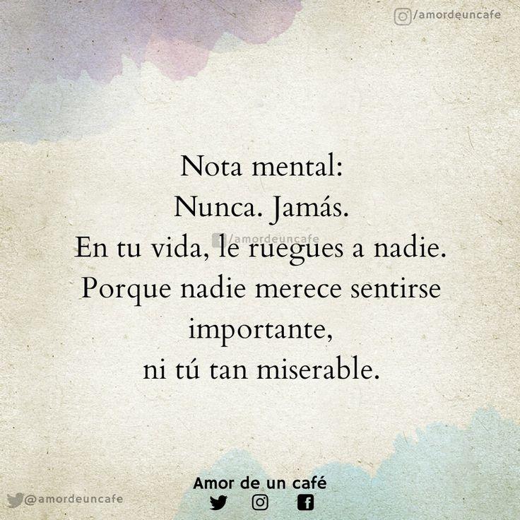 Nota mental: Nunca. Jamás. En tu vida, le ruegues a nadie. Porque nadie merece sentirse importante, ni tú tan miserable.