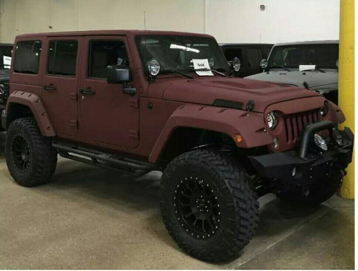 Flat Maroon Jeep = Dope