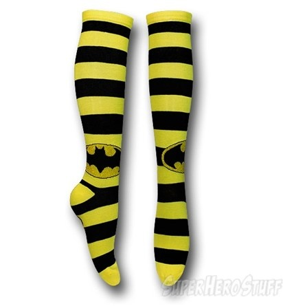 Batman Black/Yellow Striped Knee-High Socks @ Superhero Stuff, $8.99
