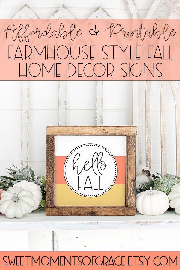 Square Hello Fall Printable Wall Art Modern Farmhouse Fall Etsy Fall Decor Diy Fall Printables Home Decor Signs