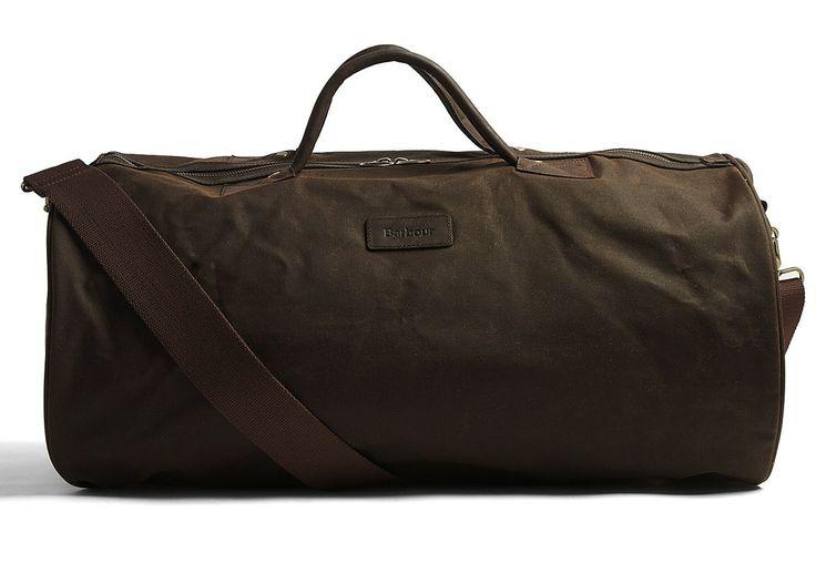 Barbour Waxed Cotton Barrel Bag