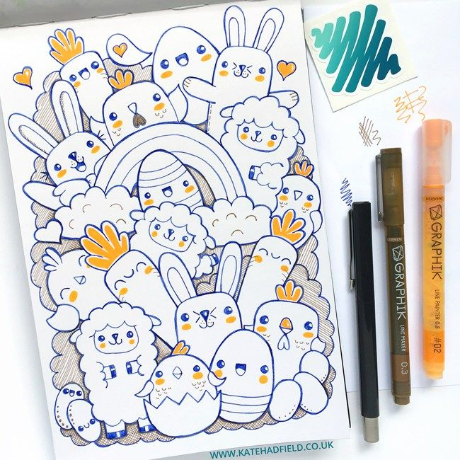 Easter Kawaii drawing by Kate Hadfield using the contents of the March 2016 ScrawlrBox | Kate Hadfield Designs