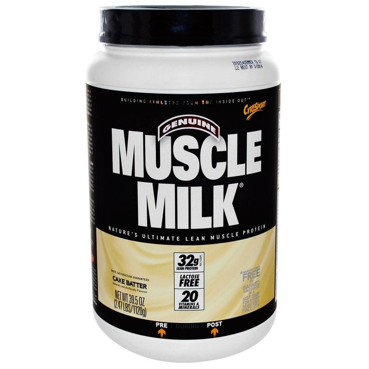 Muscle Milk Protein Powder in Cake Batter Muscle Milk's cake-batter-flavored protein powder will cure your sweet tooth whether you mix it as a straightforward smoothie, bake into a muffin, or whip up some no-bake protein balls.