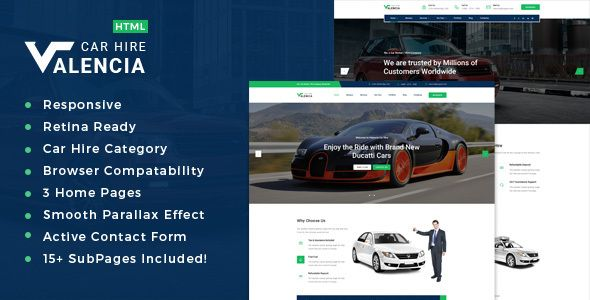 Valencia - Limousine / Transport / Car Hire Theme . Valencia – Transport and Car Hire HTML Template is a responsive HTML template ideal for private transportation and bus, shuttle, van, limousine, helicopter, taxi transfer service providers etc. but it would suit for any business with slight
