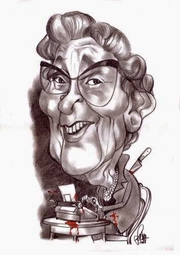 caricature of Agatha Christie