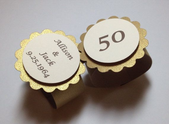 12 Gold Napkin Rings, Personalized, Paper Napkin Rings, 50th Anniversary, New Years, Designs by AliA on Etsy, $7.00