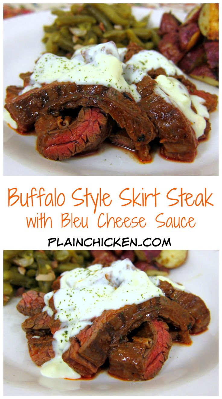 Buffalo Style Skirt Steak with Bleu Cheese Sauce recipe - skirt steak marinated in hot sauce, grilled and topped with a homemade bleu cheese sauce - SO good. Ready in under 20 minutes. Serve with some green beans and potatoes.
