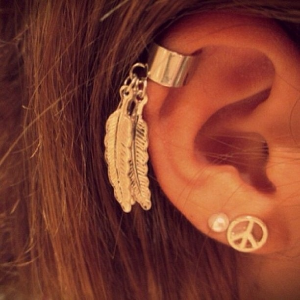 Feather ear cuff peace piercing piercings pinterest for Helix piercing jewelry canada