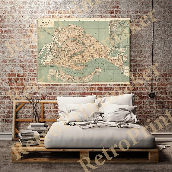 Old Venice, Italy Map, 1886. Anstalt v. Wagner & Debes. Restoration Hardware Home Deco Style Old Wall Map. Vintage Reproduction Print. Misu0639 ★ Size == 4 x 6 == 5 x 7 == 8 x 10 == 11 x 14 == 16 x 20 == 18 x 22 == 20 x 24 == 22 x 28 == 24 x 30 == 30 x 38 == 40 x 52 All paper print