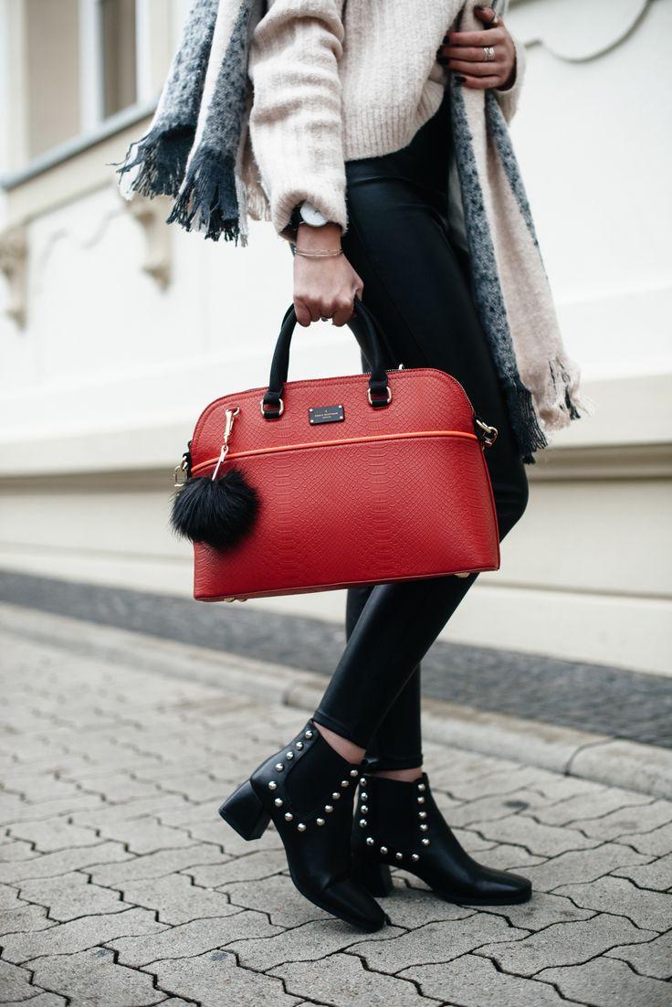 Kiamisu_Modeblog_Pauls Boutique rote Tasche_Hm Pullover rosa_Smukett Uhr schwarz-6