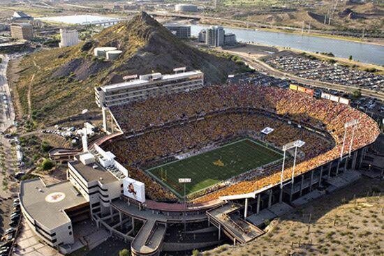 ASU Sun Devil Sadum is built next to the mountain.  Go Devils!!