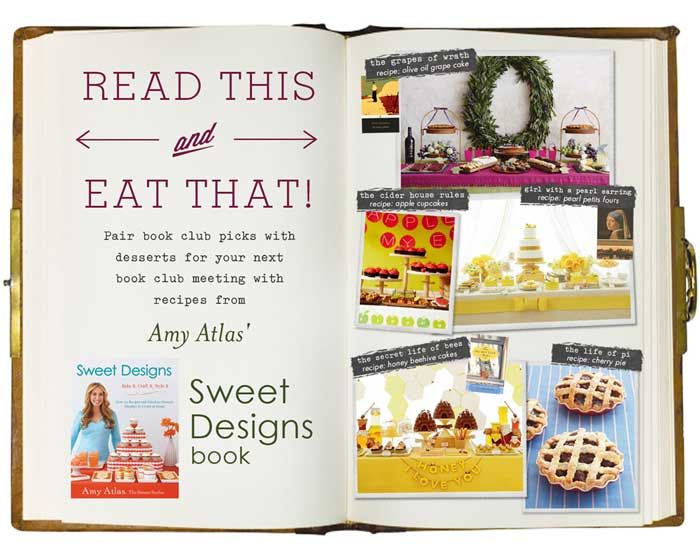 Read This, Eat That.  Our dessert suggestions for book club titles. Plus enter giveaway for chance to win up to 15 copies of #SweetDesigns for your book club so you can all bake up fun treats for your meetings.: Book Club Book, Reading Book, Food Ideas, Book Club Food, Book Parties, Fun Treats, Parties Reading, Reading Club, Book Clubs