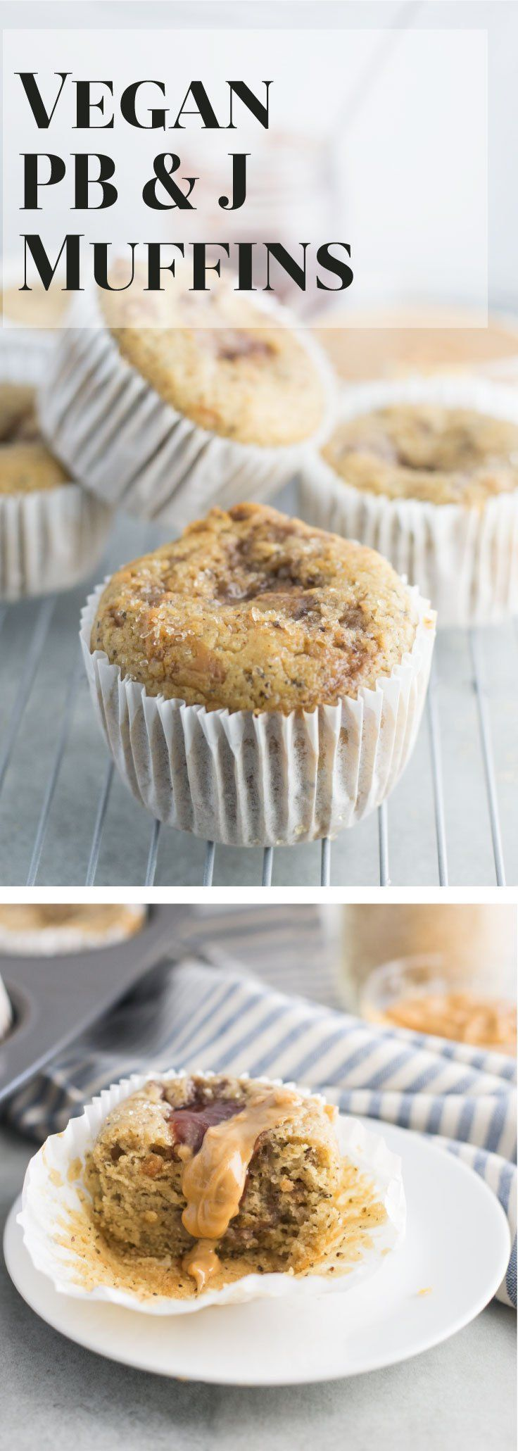 Vegan Peanut Butter and Jelly Muffins -- These vegan muffins take on the classic peanut butter and jelly flavor. Try this muffin recipe for a quick breakfast on the go or a mid day snack. - mindfulavocado