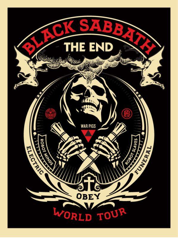 Black Sabbath The End tour poster by Shepard Fairey