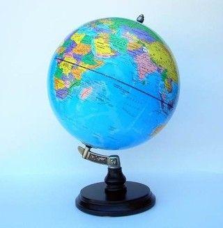 Globo Terráqueo Inclinado Celeste Base Madera 3D Didacticworld®