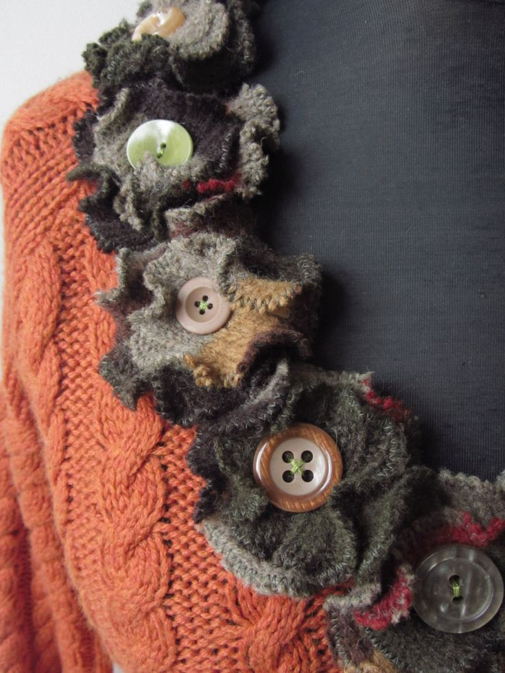 Burnt Orange Cable Knit Sweater with Sweater Flowers / Upcycled Clothing / Women Tops Sweaters / by Garage Couture. $58.00, via Etsy.