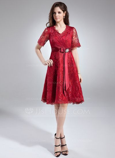 Mother of the Bride Dresses - $142.99 - A-Line/Princess V-neck Knee-Length Charmeuse Lace Mother of the Bride Dress With Crystal Brooch (008005631) http://jjshouse.com/A-Line-Princess-V-Neck-Knee-Length-Charmeuse-Lace-Mother-Of-The-Bride-Dress-With-Crystal-Brooch-008005631-g5631?pos=your_recent_history_5