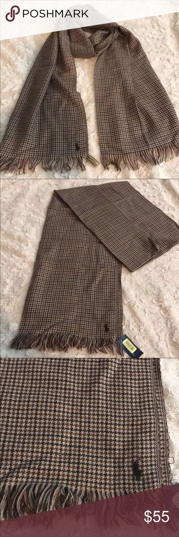 """Polo Ralph Lauren Reversible Plaid Scarf New with tag Polo Ralph Lauren Reversible Scarf $65 100% Virgin wool Measurements 68"""" in Length and 14"""" width  Color Brown and Beige Plaid pattern(both sides) with the Logo Pony embroidered on both sides in dark Brown  Polo Ralph Lauren Reversible fringed scarf...Light-weight, extremely soft...Designed to make a statement   Please check my other listings i can combine shipping for you   SIN : GRE Polo by Ralph Lauren Accessories Scarves"""