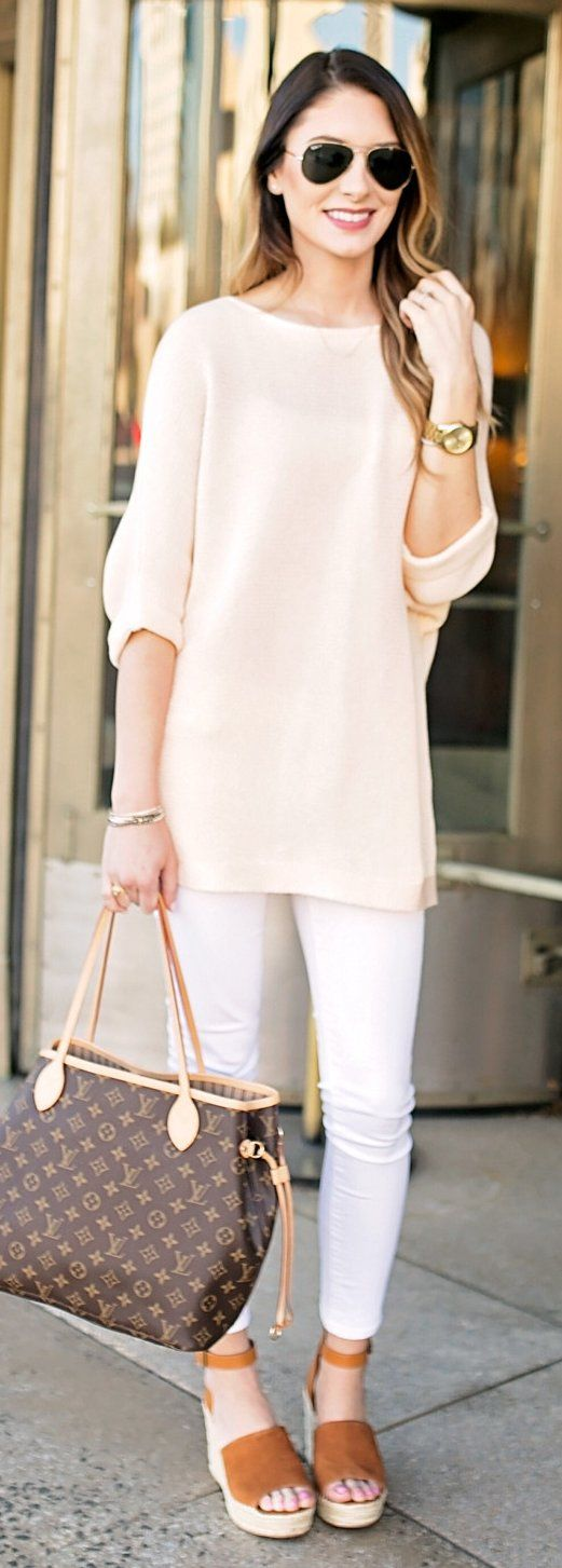 #spring #fashion Peach Top & Skinny Jeans & Brown Suede Platform Sandals