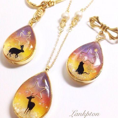 Sunset animal resin brooches by Lankpton 制作状況 の画像 Lankpton レジンアクセサリー