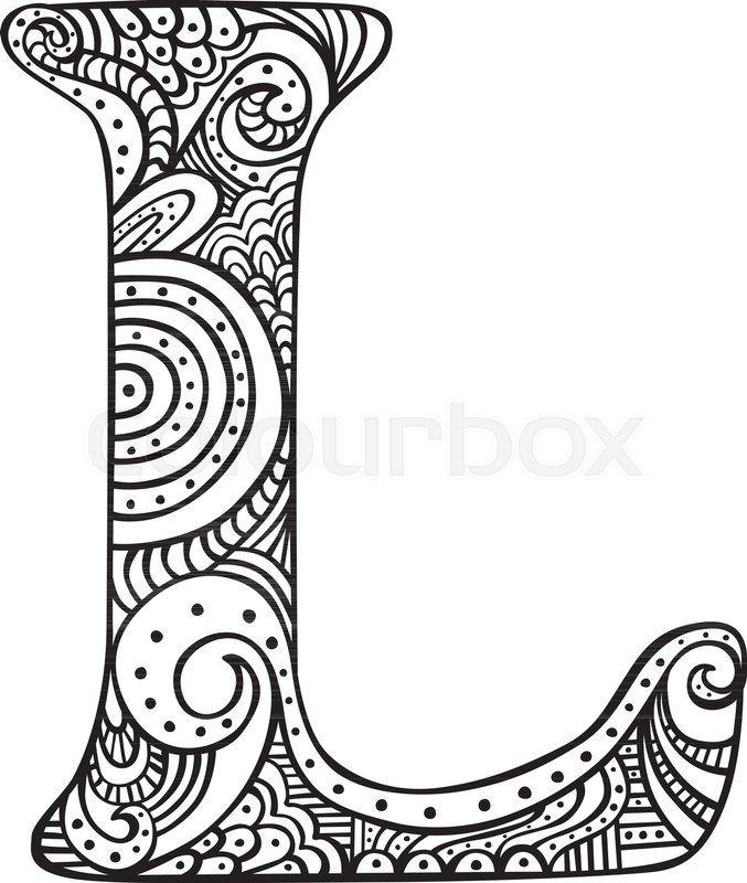 image result for letras para imprimir en mayuscula imprenta mandalas letter l lettering. Black Bedroom Furniture Sets. Home Design Ideas