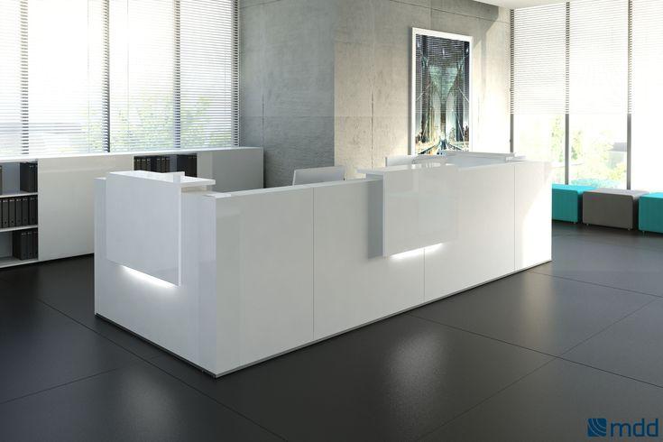 Cтойка - ресепшен TERA от MDD позволит создать уютную зону приемной как в больших, так и в компактных офисных помещениях.   Цветовая гамма: канадский дуб, орех, белый матовый.
